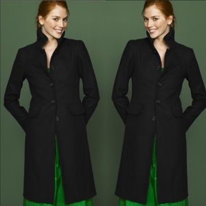 J. Crew black wool double cloth day pea coat 16